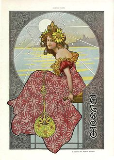 Gaspar Camps i Junyent (Spanish, painter, illustrator and poster artist of the Art Nouveau and Art Deco. From the Barcelona magazine Álbum Salón Art Nouveau Mucha, Alphonse Mucha Art, Art Nouveau Poster, Art And Illustration, Illustrations, Design Art Nouveau, Motif Art Deco, Jugendstil Design, Kunst Poster