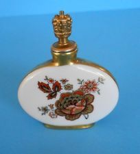 Vintage German Crown Top Porcelain Perfume Bottle Hand Painted Details Floral