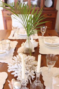 Starfish Cottage- a coastal white Christmas table