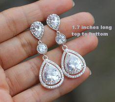 triple drop bridal earring cz wedding jewelry by arbjewelry