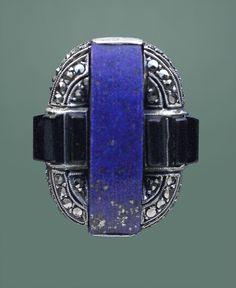 THEODOR FAHRNER Art Deco Ring. Silver Lapis Onyx Marcasite. H: 2.4 cm (0.94 in)  W: 2 cm (0.79 in) Marks: 'TF' monogram & '935'. German, c.1929.  (hva)