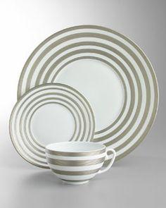 -1J1C J.L. Coquet Hemisphere Platinum-Stripe Dinnerware