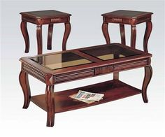 Overture Cherry Wood Glass 3Pc Pack Coffee/End Table Set
