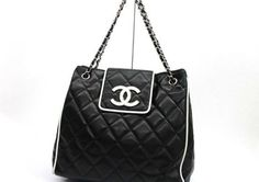 B & W Beauty!  AUTHENTIC CHANEL Contrast Piping Quilting Chain Shoulder Bag Black White #CHANEL #ShoulderBag (on ebay)