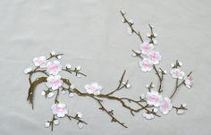 Fleur de prunier brodé Appliques, adhésive brodé de fleurs, patchs pour robe fournitures, fleur de cheveux, coiffure