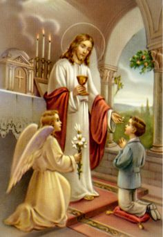 """From a reader… Father, My son is three years old. I'm looking for a very simple way to explain the Eucharist to him. I have been pointing out the host to him and saying, """"See that's Jesus that Father is holding. Cross Pictures, Jesus Pictures, Holy Communion Dresses, First Holy Communion, Catholic Art, Religious Art, Vintage Holy Cards, Religion, Jesus Christ Images"""