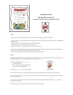 Are you looking for a script for students to read during the morning announcements for Red Ribbon Week? Each day, the students will talk about why it's important to stay bully and drug free. Elementary School Counseling, Elementary Schools, Morning Announcements, Red Ribbon Week, Drug Free, Classroom Management, Teacher Pay Teachers, Bullying, Drugs