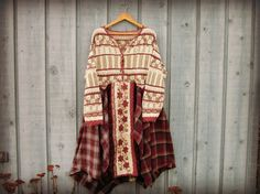 1X 2X Upcycled Prairie Sweater Dress// Plus Sizes// by emmevielle  $127.00.  Enter PIN10 at checkout for 10% off.