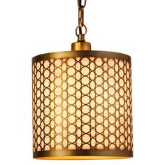 <p>The Open Metal Circle Pendant mixes the modern glam of laser-cut metal with the rustic vibe of textured fabric. Woven cream and tan fibers with natural variation show through a metal casing of circular silhouettes. This pendant light has a gleaming brushed-bronze finish on its metal casing, hanging chain and ceiling mount. Make this shining ceiling light the centerpiece of a room. Requires hardwired installation.</p>