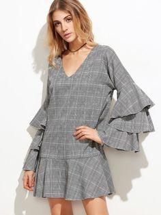 Glockenärmel Kleid 2017 Grau