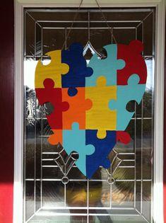 Super Ideas For Wooden Door Hangers Diy Hooks Wooden Door Hangers, Wooden Doors, Wooden Signs, Puzzle Pieces, Kids Coat Rack, Coat Racks, Diy Haken, Autism Crafts, Colors