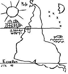 """Upside down map do artista uruguaio Joaquín Torres Garcia, desafiando as convenções cartográficas. """"La escuela del sur"""", foi um grupo de artistas latinoamericanos que proclamaram o seu lugar num mundo dominado pela cultura ocidental. Fonte: Harmon (2004)"""