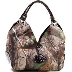 Realtree® Large Camouflage Hobo Bag - Coffee Croco Trim