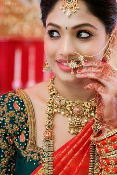 That twinkle in her eye and that stunning nose ring. The Bride Sujitha. Wedding Saree Blouse Designs, Blouse Designs Silk, Saree Wedding, Wedding Blouses, Wedding Album, Bridal Lehenga, Wedding Dress, Big Indian Wedding, Traditional Indian Wedding