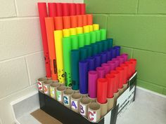 My husband Kent made this Boom Wacker holder for his music teacher out of a paper box kid and paper towels roles. General Music Classroom, Future Classroom, Elementary Music Lessons, Future Music, Music Education, Music Teachers, Physical Education, Music Lesson Plans, Music And Movement