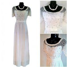 Pearl Beaded Long White Chiffon Maxi Dress Wedding And by Jywal