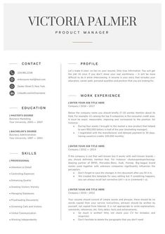 Modern Professional Resume, Two Page Resume, Curriculum Vitae Template, 2 Page Resume and Cover Letter Template + Reference = 4 page resume Job Resume, Resume Tips, Resume Examples, Chef Resume, Cv Tips, Resume Layout, Template Cv, Modern Resume Template, Resume Templates