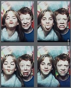 Crazy facial expressions by Ron and Hermione!