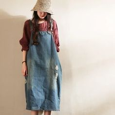 Blue Hole Hole Painter Cowboy Suspender DressClothes will not shrink,loose Cotton fabric, soft to the touch. Funky Outfits, Casual Outfits, Fashion Outfits, Plus Size Dresses, Plus Size Outfits, Casual Dresses For Women, Clothes For Women, Black Suspenders, Long Sweater Dress