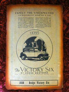 Vintage 1967 Wood Plaque 1928 Victory Six by Dodge Brothers J.J. Barker & Sons