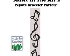 A bracelet pattern made with two drop even peyote stitch using Miyuki delica beads in 2 colors. Length: Width: The PDF file includes: The pattern design A bead legend - bead numbers and colors needed A large, detailed, numbered graph of Loom Bracelet Patterns, Peyote Patterns, Loom Patterns, Beading Patterns, Making Bracelets With Beads, Cross Stitch Bookmarks, Music Notes, Pc Music, Bracelets