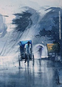 Weather Captured on Canvas by Nadees Prabou! Watercolor Paintings For Beginners, Watercolor Landscape Paintings, Watercolor Pictures, Watercolor Canvas, Landscape Art, Watercolor Scenery, Watercolor City, Scenery Paintings, Indian Art Paintings