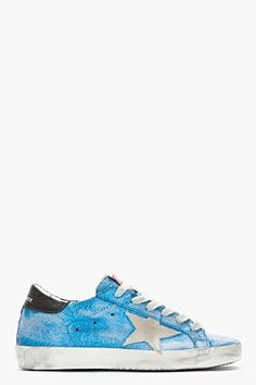 GOLDEN GOOSE Blue Glitter Superstar Leather Skate Sneakers
