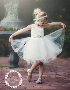 Stunning White Lace Dress Tulle flower girl by SweetValentina