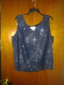 """Dana .Kay. Chiffon with Line stretch blouse beautiful top for evening size 20w chest 50"""" west54""""hip"""