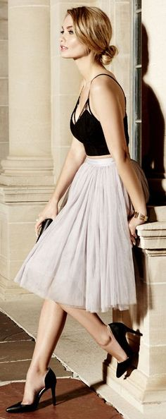 Light Grey Tulle Midi Skirt