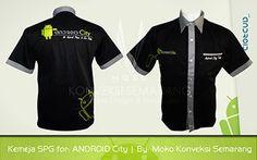 Baju Kerja Android City.   Pakaian branding promosi yang di desain dengan gaya kreatif modern dan memiliki perpaduan warna yang elegan.
