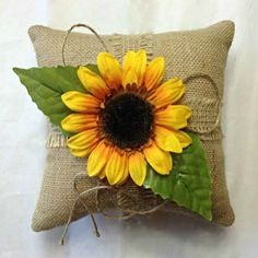 Sunny and Bright our Sunflower Burlap Ring Bearer Pillow is a perfect addition to your Sunflower themed wedding. This x natural burlap pillow is adorned with a lovely silk sunflower and two gr Burlap Ring Pillows, Ring Bearer Pillows, Sunflower Ring, Wedding Pillows, Flower Girl Basket, Wedding Planners, Wedding Themes, Wedding Ideas, Wedding Decorations