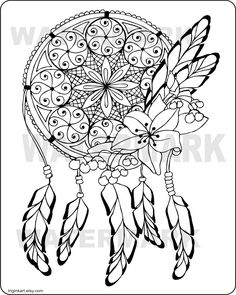 Dream Catcher Adult coloring page by triginkart on Etsy - Coloring Pages Dream Catcher Coloring Pages, Mandala Coloring Pages, Coloring Pages To Print, Free Coloring Pages, Coloring Books, Coloring Sheets, Fairy Coloring, Coloring Pages For Grown Ups, Printable Adult Coloring Pages