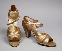 Pair of Woman's Sandals - burnished leather. Probably France, circa 1938 | LACMA Collections