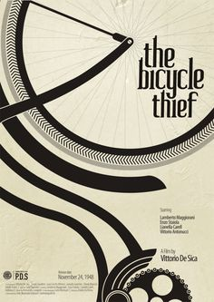 Beautiful custom typography. And aloso the layout is inspirational. The Bicycle Thief by Kshitij Tembe, via Behance