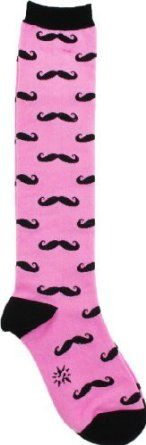 Sock It To Me Moustaches Knee High Womens Socks, one size, Pink
