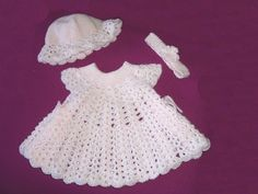 Pink Powder Puff Original CROCHET PATTERN Baby Dress with Headband and Hat. $4.00, via Etsy.