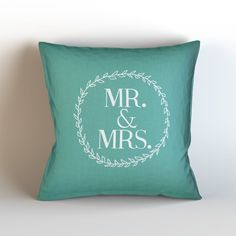 Mr and Mrs  Throw Pillow Case w/optional by KaliLaineDesigns