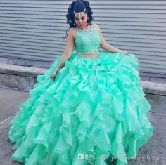 New Elegant Fashion Two Pieces Ball Gowns Crystals Mint Blue Quinceanera Dresses…