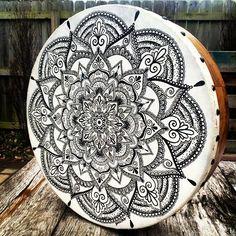 Mandala tattoo on Bodhran Drum by Jamie Locke.   www.jamielockeart.com