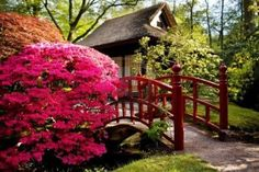 Japanese tea-house in spring park Stock Photo
