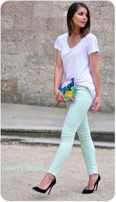 Calça verde menta
