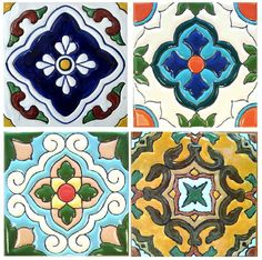 Hand Painted Tiles, Turkish influenced, note the symmetry and the common use of 4- with petals, crosses, stars- to reflect square shape