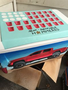 Truck and American flag with ping pong & solo cups painted cooler