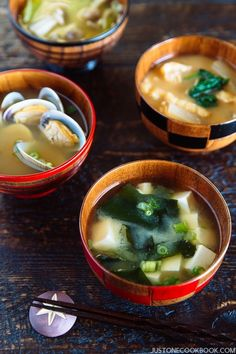 Homemade Miso Soup (味噌汁) - It's super easy to make an authentic Japanese miso soup with savory homemade dashi. Clam, tofu, Shiitake mushrooms, Wakame seaweed, daikon and many other Ingredients you can use! #misosoup #soup #japanesefood #healthy #quick #asianrecipes | Easy Japanese Recipes at JustOneCookbook.com