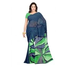 Blue Georgette Printed Saree With Green Blouse