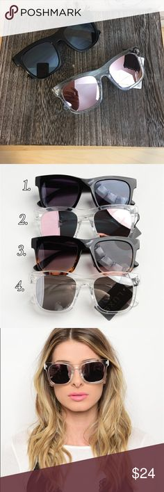 Fashion Mirrored Sunglasses Fashion Mirrored Sunglasses. Comes in 4 colors as shown in pic 2. You can choose the color when checking out Bchic Accessories Sunglasses