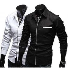 $7.76    Elegant Top Quality Dress Shirt Long Sleeve Solid Color Edge Design For Men