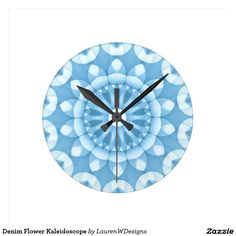 Denim Flower Kaleidoscope Round Clock This delightful flower kaleidoscope design features shades of denim blue and white with pretty overlapping petal shapes