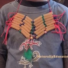 My son made this craft breastplate inspired by the hair pipe breastplates of the Plains Indians, originally introduced by the Comanche native tribe. Every year, the kindergartners at my kids' primary school dress up as tribal peoples (Native Americans / American Indians) or pilgrims for their...